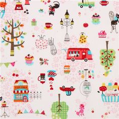 white retro cafe cat Paris fabric by Kokka from Japan