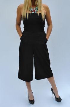 Strapless Gaucho Jumpsuit Black