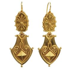 Victorian Era Etruscan Revival Earrings | From a unique collection of vintage…