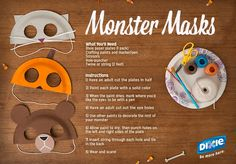 """The best Halloween costume is a homemade one. Learn how to make these kid-friendly """"Monster Masks"""" with your little ones out of paper plates and paint!"""