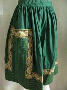 Green Cotton Quilted Traditional Ethnic Folk Boho by MagicPebble