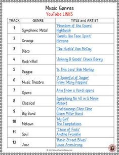 Music Listening Worksheets - Match the Music Genre