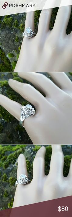Rainbow Moonstone poison ring PRICE FIRM! Bali carved poison ring in a dainty handcrafted 925 sterling silver with a beautiful Rainbow Moonstone cab. Size 6. NWOT Robin's Nest Jewels  Jewelry Rings