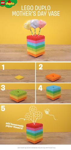 This LEGO DUPLO Mother's Day vase makes a great play activity for pre-schoolers. Build a colorful rainbow, or encourage your child to make up their own beautiful design. Create some flowers from cupcake cases and paper straws and you have a super cute craft to make together too. The perfect homemade present for a parent or grandparent – or just have fun making it together. Click to find lots of colorful LEGO DUPLO sets for activities like these.