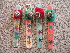 preschool holiday crafts. jingle bell stick to take caroling.