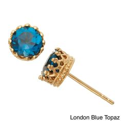 Gioelli Tiara Collection Goldplated Silver 6mm Round Gemstone Crown Earrings (London Blue Topaz), Women's