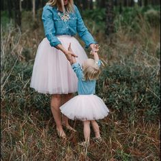 Mommy & Me Outfits Ballerina Matching Princess Tutu Full Tulle Skirts for Mother and Daughter Child & Adult Size Puffy Petticoat