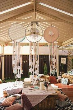 Dreamcatchers at a boho birthday party! See more party ideas at CatchMyParty.com!