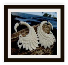fake gauge earrings Wing White Bone Split Gauge by ANELAJADE, $21.99