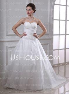 MAYBE-Wedding Dresses - $181.99 - Ball-Gown Sweetheart Chapel Train Organza Satin Wedding Dress With Ruffle Beadwork (002001638) http://jjshouse.com/Ball-Gown-Sweetheart-Chapel-Train-Organza-Satin-Wedding-Dress-With-Ruffle-Beadwork-002001638-g1638