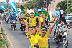 A FIFA rally in the streets of Malapuram. Indians football fans of Argentina in the world cup 14'