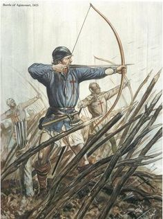 Drawing of archers at the Battle of Agincourt.