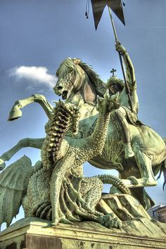 """""""St. George in Battle with the Dragon,"""" by August Kiss, Berlin"""