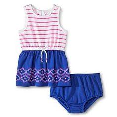 Cherokee® Baby Girls' Twofer Dress - Pink Stripe/Grape Squeeze