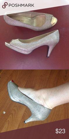 Sparkles 2 inch heels, peek a boo toe Band albino Silver Sparkle 2 inch heels Bandolino Shoes Heels