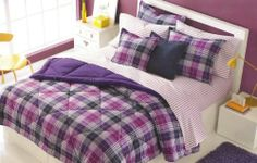 "Martha Stewart Reversible Camp Plaid Twin Comforter, Purple/blue by Martha Stewart. $34.99. Machine washable. Soft and smoothe microfibre. 66""X86"". Reversible comforter. Color: purple/blue plaid. Color: Camp Plaid / Purple, pink, navy and white Cotton / Poly Cover Filled with polyester fill down alternative Machine Washable One Twin Comforter (66"" x 86"")"