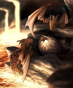 DragonMother&Young_Art by http:/2dashase.deviantart.com