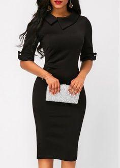 Zipper Back Half Sleeve Black Sheath Dress   Rosewe.com - USD $33.53