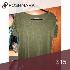 Army Green American Eagle Lace Up Sleeved T-Shirt Army Green American Eagle T-Shirt with lace up sleeves. Worn once. In excellent condition American Eagle Outfitters Tops Tees - Short Sleeve
