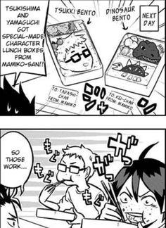 """anwitacitriya: """" Even Furudate Haruichi sensei confirms Yamaguchi gets a Tsukki bento and Taukishima gets a dinosaur bento. Tsukishima X Yamaguchi, Haikyuu Tsukishima, Haikyuu Funny, Haikyuu Fanart, Kagehina, Tsukiyama Haikyuu, Tsukkiyama, Volleyball Anime, Kuroken"""