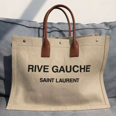 Saint Laurent Rive Gauche Tote Bag in White Linen and Brown Leather 499290 2018 ] : Real Bag Sale Saint Laurent Tote, Saint Laurent Handbags, Men's Totes, Ysl Bag, Rive Gauche, Tote Backpack, Bag Packaging, Luxury Bags, Bag Sale