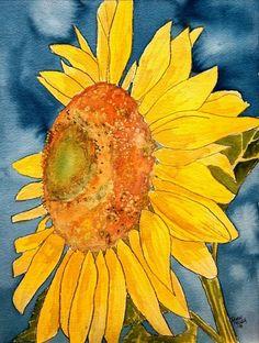 sunflower macro flower watercolor painting print