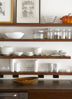 exposed shelves | love the assortment of dishes and jars