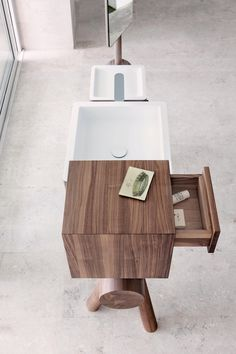 DRESSAGE - TRAY FOR COSMETICS IN SOLID WOOD AND CORIAN® - Shelves from Graff | Architonic