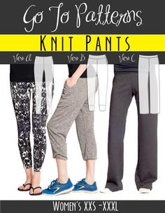 Go To Knit Pants for women | The best sewing patterns for women, girls, toys and more. Go To Patterns & Co.