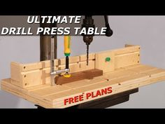 This easy to make Drill Press Table is the perfect one day shop project! The sliding dovetail system is easier to install than t-tracks and when paired with the MICROJIG accessories this table and fence system is everything that you need. Woodworking Workshop Layout, Woodworking Box, Woodworking Techniques, Woodworking Projects Diy, Drill Press Stand, Drill Press Table, Diy Projects Plans, Wood Projects, Router Table Plans