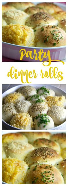 Party Dinner Rolls are beautiful and easy to make. Brush with melted butter and add toppings. Try different grated cheeses and herbs. Perfect for holidays! #dinnerrecipes #thanksgivingrecipe #holidayrecipe #christmasrecipe
