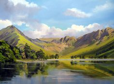 paintings of buttermere Mountain Silhouette, Italian Lakes, Art Inspiration Drawing, Nature Drawing, Mountain Art, Watercolour Tutorials, Sign Printing, Learn To Paint, Lake District