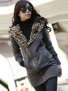 New Fashion Zip Front Pure Color with Pocket Leisure Hoodie Dark Gray on DressLuck.com