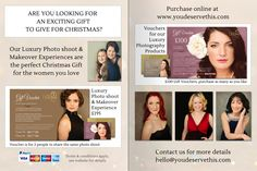 Are you looking for a really wonderful gift for the women you love this Christmas? Our Luxury Photo shoot and Makeover Experiences are just perfect. They'll have a fantastic time with us, create fabulous memories and have beautiful photographs to share with family and friends. An amazing experience to look forward to in 2015. Purchase your vouchers in our online shop www.youdeservethis.com  @YouDeserveThis1 #youdeservethis #makeover #christmas gift #photo shoot #glamour #beauty #women