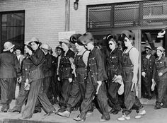 women working in factories during ww2 | Denim-clad female workers leaving the factory during WWII