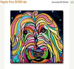 50% OFF Storewide- Wheaten Terrier art Tile Ceramic Coaster Mexican Folk Art Print of painting by Heather Galler Dog