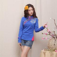 Pretty Modern Traditional Cheongsam Style Blue Shirt - Chinese Shirts  Blouses - Women