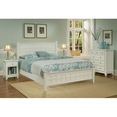 Arts and Crafts Queen Bed, Night Stand, and Chest White Finish