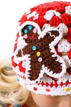 Crochet Gingerbread Man Hat. Adorable!