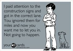 Truth!!!!!! This is my BIGGEST driving pet peeve... people are always trying to avoid the line!!