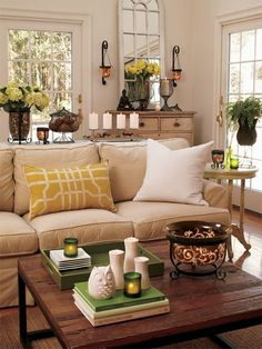 Home Decor Ideas - How to style a coffee table with splashes of colour. http://www.home-dzine.co.za/decor/decor-coffee-table-style.htm