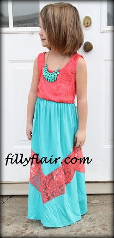 A Piece of my heart little girls maxi in Coral and mint