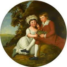Robert Edge Pine, 'Portrait of a Boy and a Girl with a Basket of Fruit in a Landscape', undated, The Chequers Trust, Acc. 186 (BBC Your Paintings) The girl is in a white bib-fronted dress, her ruched mob cap adorned with pearls and berries, as she reaches for the grapes cradled by the boy who sits on the rock, narrow legs defined by breeches and stockings in contrast to the girl's plump roundness.