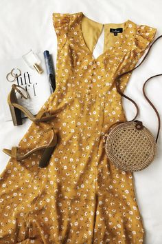 Yellow dress for spring – Women's Fashion Cute Casual Outfits, Pretty Outfits, Pretty Dresses, Casual Dresses, Fashion Dresses, Awesome Dresses, Flower Dresses, Floral Dress Outfits, Formal Outfits