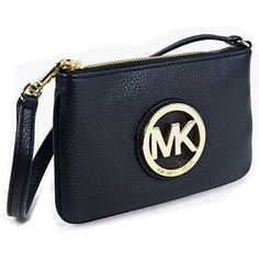 "NWT Michael Kors Black Leather Wristlet Brand new, never been used, tags are still attached! There is one inside pocket and 3 interior card slots. Black leather and gold emblem, the dimensions are 7"" for the length and 4.5"" for the height. Goes well with everything! (Fast shipper!) MICHAEL Michael Kors Bags Clutches & Wristlets"
