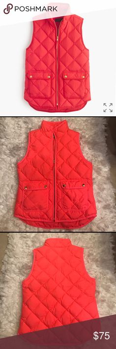 J.Crew Excursion Quilted Down Vest In like new condition. Size small. Pretty coral color. Two Button pockets in front. J. Crew. Buttons are gold. J. Crew Jackets & Coats Vests