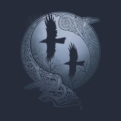 Did you know that Odin's two ravens are representatives and symbols of your mind? Viking / Norse lore and mythology is complex and offers insight and wisdom. Viking Symbols, Viking Art, Celtic Tattoos, Viking Tattoos, Bild Tattoos, Body Art Tattoos, Tatoos, Tattoo Odin, Rabe Tattoo