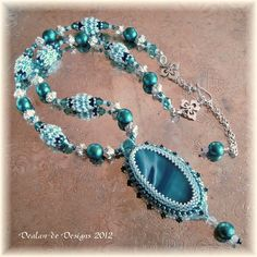 """Northern Exposure - EBWC March 2012 """"Destinations"""" Bead Woven Embroidery Necklace Blue White"""