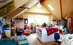 A beautiful and colorful studio I would love to have! Four Quilt Designers' Sewing Studios   AllPeopleQuilt.com