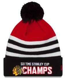 27fabd4983d Chicago Blackhawks New Era 6 Time Stanley Cup Champions Pom Knit Hat NHL  Beanie